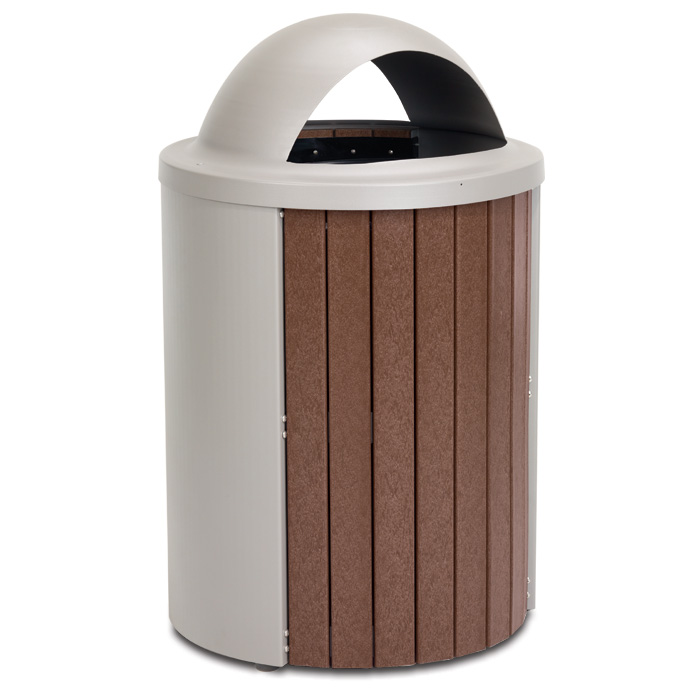 TR35DT  Madison Collection 35 Gallon Recycled Plastic Trash Receptacle with Open Dome Top