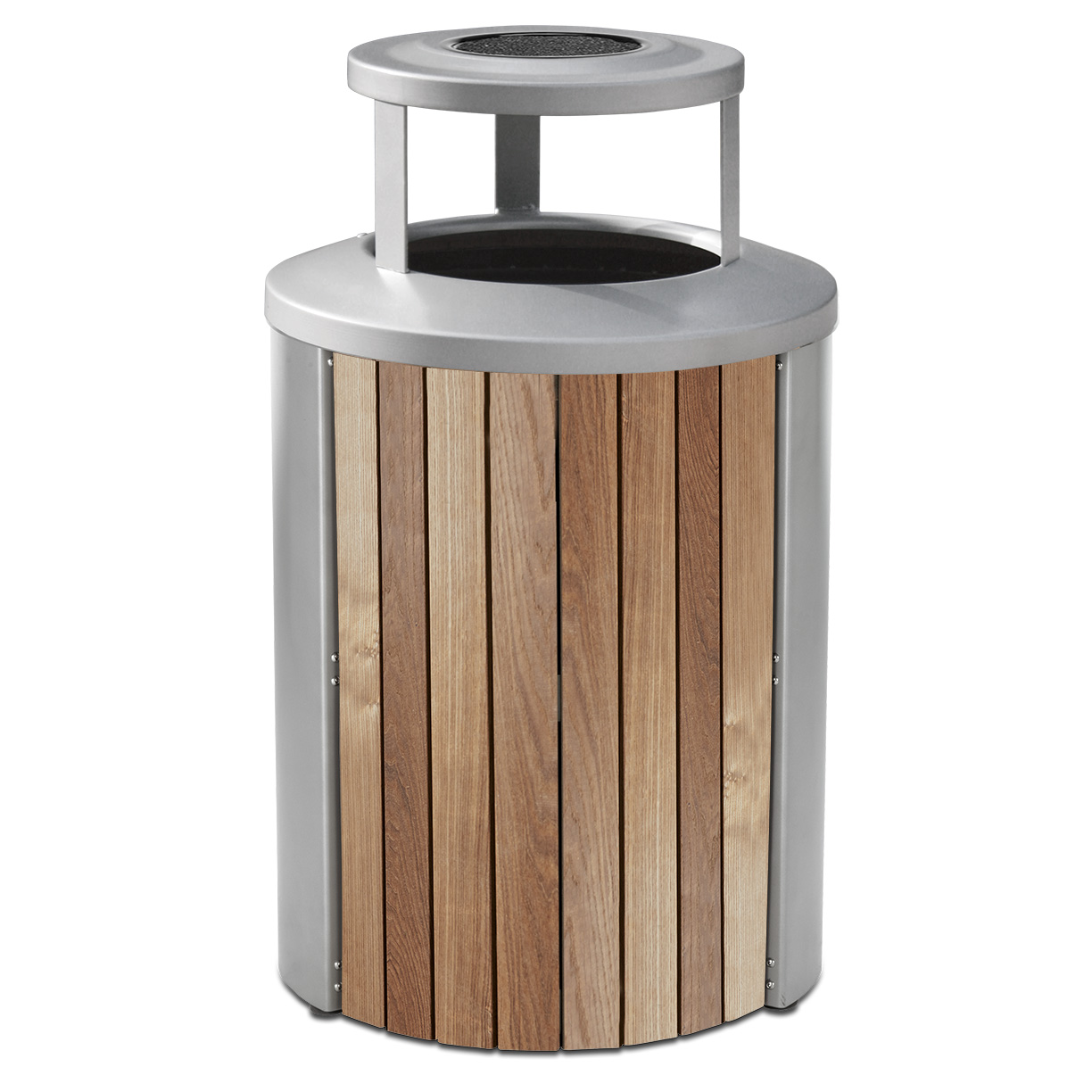 TT35BTA  Madison Collection 35 Gallon Thermory Slat Trash Receptacle with Ash/Bonnet Top