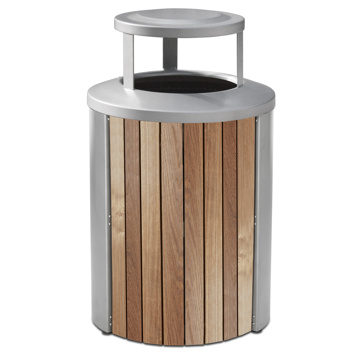 TT35BT  Madison Collection 35 Gallon Thermory Slat Trash Receptacle with Bonnet Top
