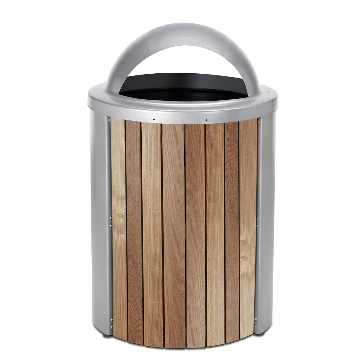 TT35DT  Madison Collection 35 Gallon Thermory Slat Trash Receptacle with Dome Top