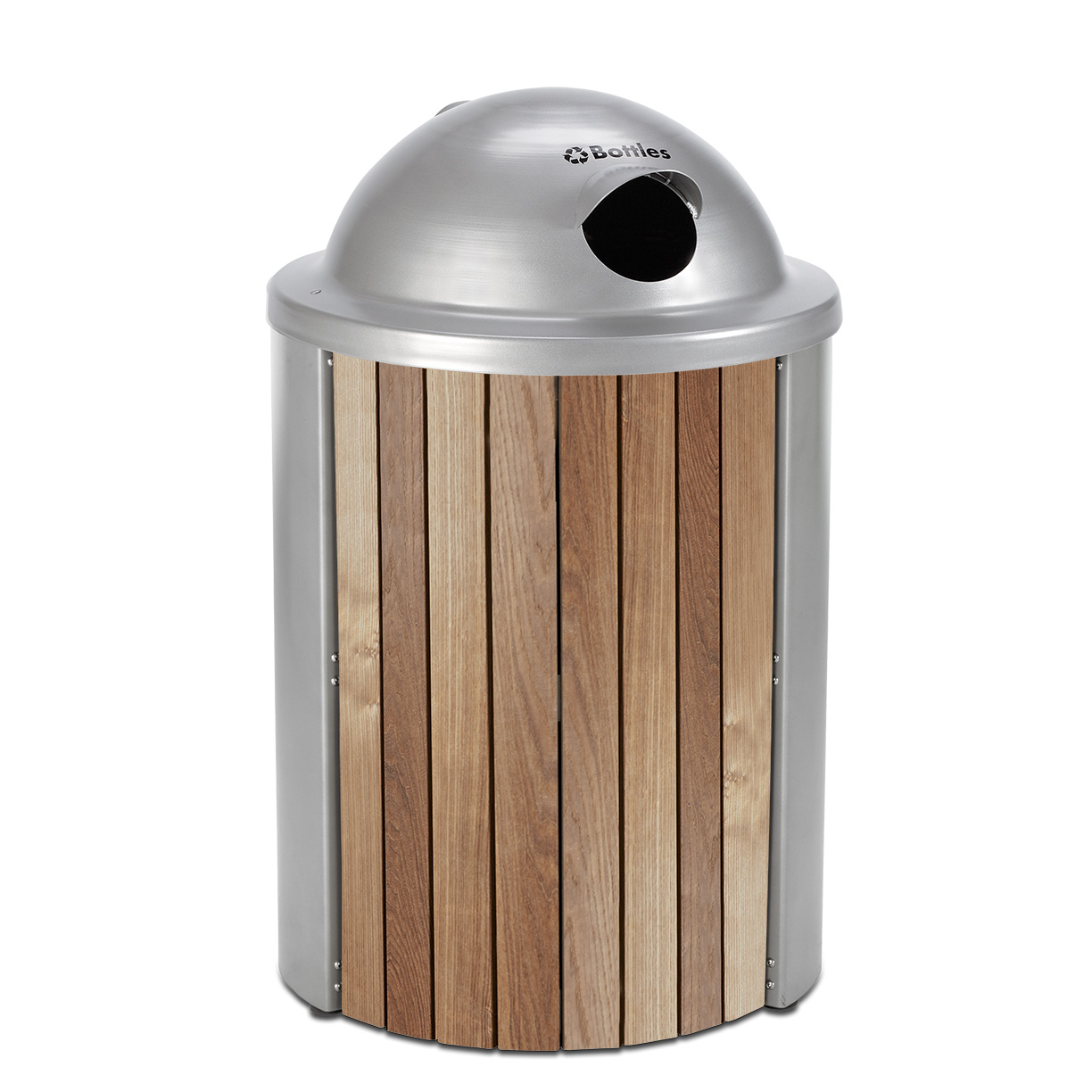 TT35VRT  Madison Collection 35 Gallon Thermory Slat Receptacle with Visor Recycling Top