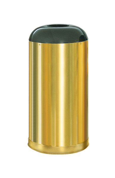 R32SBS  Satin Brass Collection 15 Gallon Open Dome Top Trash Receptacle
