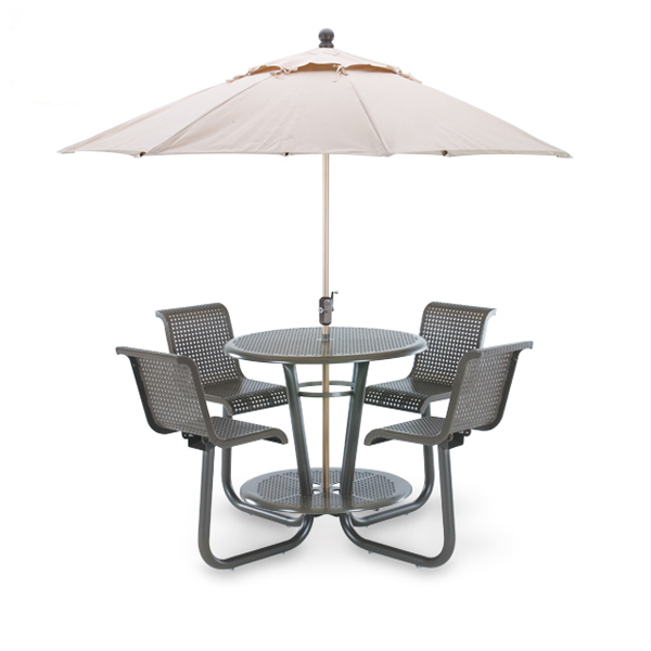 Camino Round Bar Height Table with (4) Attached Chairs