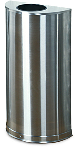 SO12SS Half Round 9 Gallon Open Top Trash Receptacle with Stainless Steel Finish