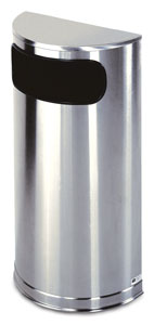 SO8SS Half Round 9 Gallon Trash Receptacle with Stainless Steel Finish