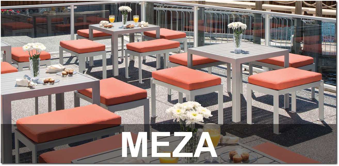 Meza Collection Aluminum Slat Outdoor Furnishings