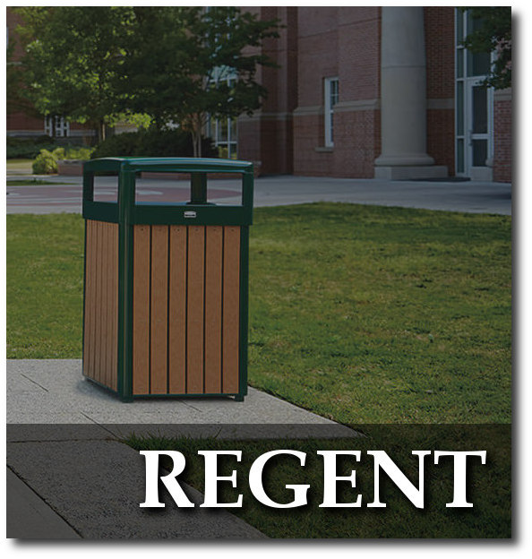 Regent Series Recycled Plastic Slat Trash Receptacles